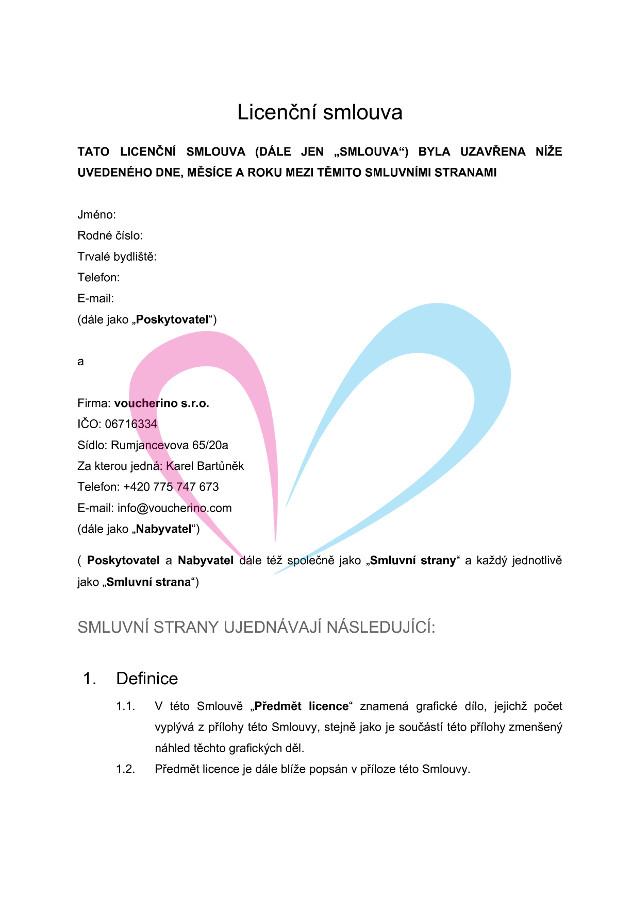 Licenční smlouva, strana 1