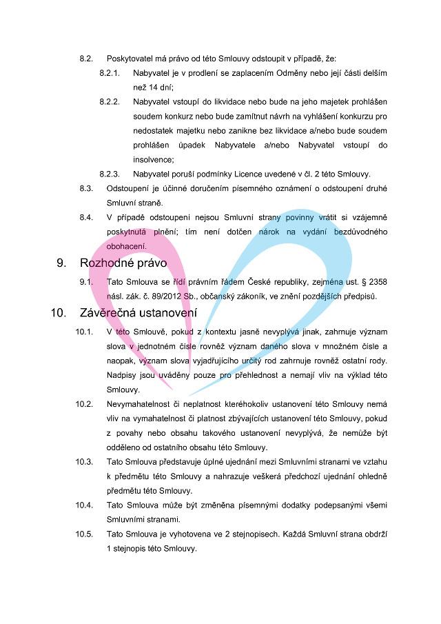 Licenční smlouva, strana 4